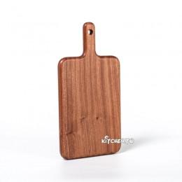 [乒乓拍造型]整木烏檀木方形帶把砧板